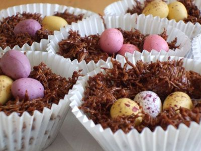 Visual cooking instructions for making Easter nests. Aimed at reception or SEN children