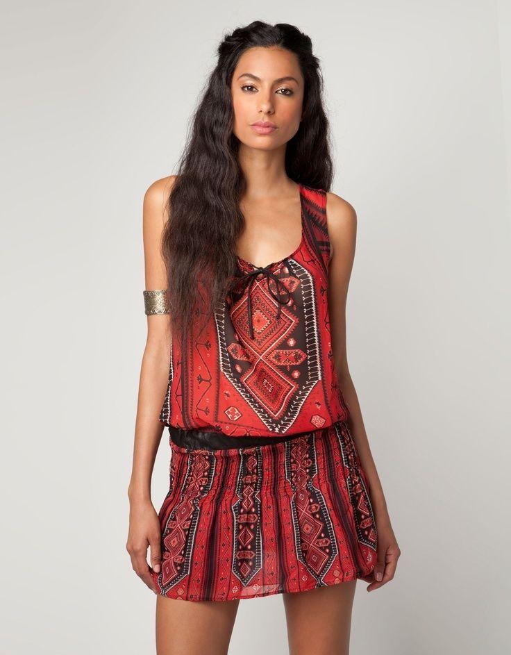 BERSHKA ZARA tribal ethnic aztec bohemian hippie folk chiffon dress blouson S M