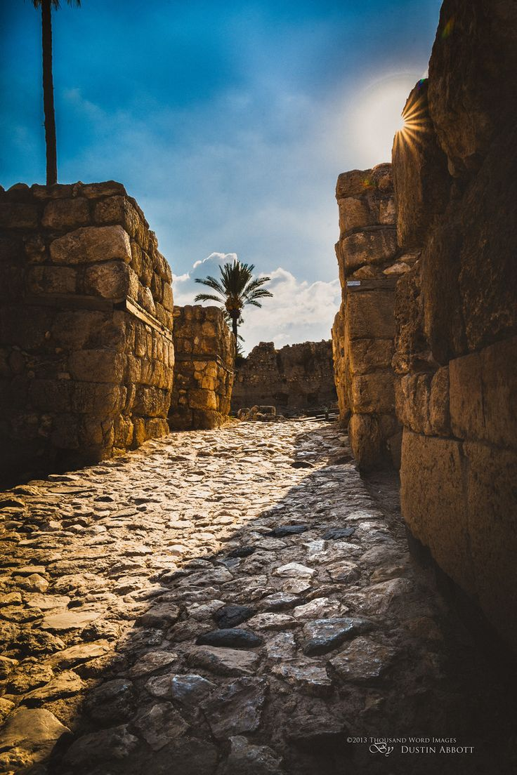 *ISRAEL~this is part of the gateway+entrance to Megiddo that was built by King Solomon+his workers TEN CENTURIES before Christ!! Incredible to think that you can walk upon a stone street that was laid more than 3,000 yrs ago by one of Scripture's notables. But in Megiddo history goes back even further than that. There are currently 26 levels of civilization that have been discovered on Tel Megiddo + it overlooks the plain where Scripture says Armageddon will take place...