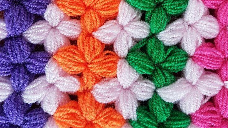 Çiçekli Lif Yapımı/ Tığişi Bebek Battaniyesi