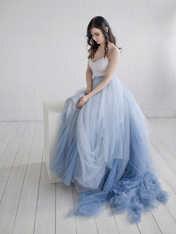 Nora Ombre Wedding Dress Lace And Tulle Wedding Dress Etsy Dip Dye Wedding Dress Blue Wedding Dresses Ombre Wedding Dress