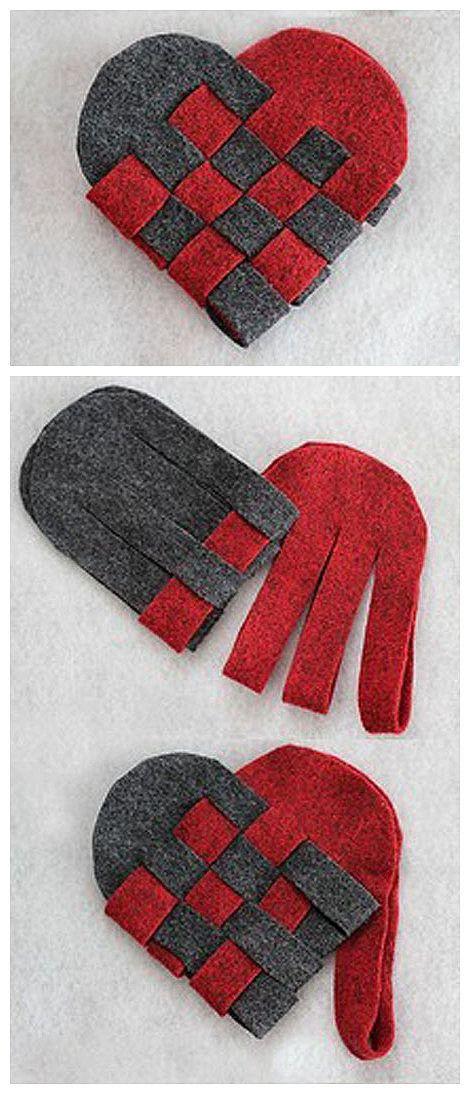 手工DIY 不织布双色桃心一个简单实用的小礼物…(or, cute hearts)