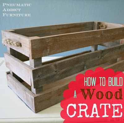 DIY Wood Crate || If you want to build a wood crate, this tutorial from @pneumaticaddict is perfect! She used pine 2x2's and reclaimed pallet wood. You'll also need wood glue and a brad nailer that can shoot nails between 1 ¼-inches to 2 inches. We'd recommend the Pneumatic Brad Nailer (PT18G) or the Professional Electric Nailer (ET200BN). A few of these together could work as a coffee table, or you could use them to hold blankets or silk flowers. www.arrowfastener.com