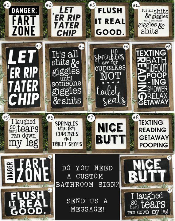 Funny Bathroom Signs Bathroom Wall Decor Kids Bathroom Etsy