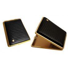Cigarette cases VH leather 902131 for 24 Slim/18 KS, croco, black/golden