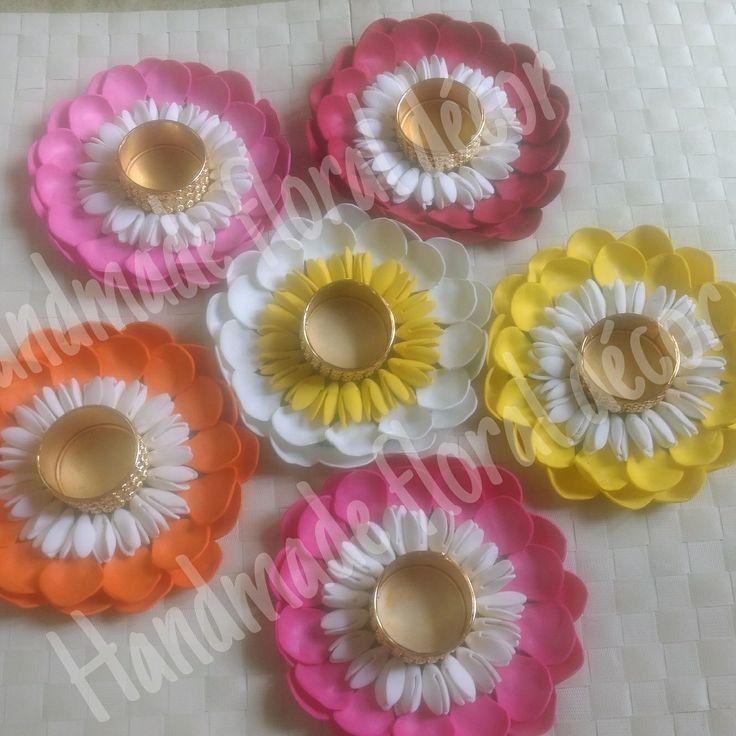 Handmade foam flowers Floating floral tlite rangolis