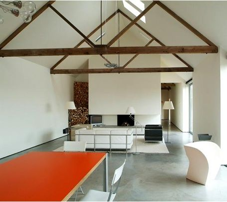A little to modern in the decor but i love the triangle beams!