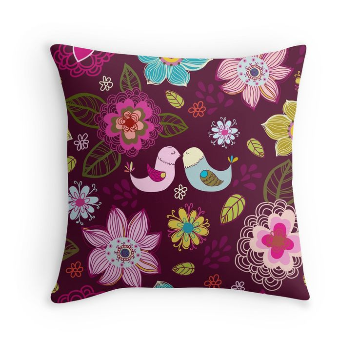 """""""Seamless texture with flowers and birds."""" Throw Pillows by smotrivnebo   Redbubble"""