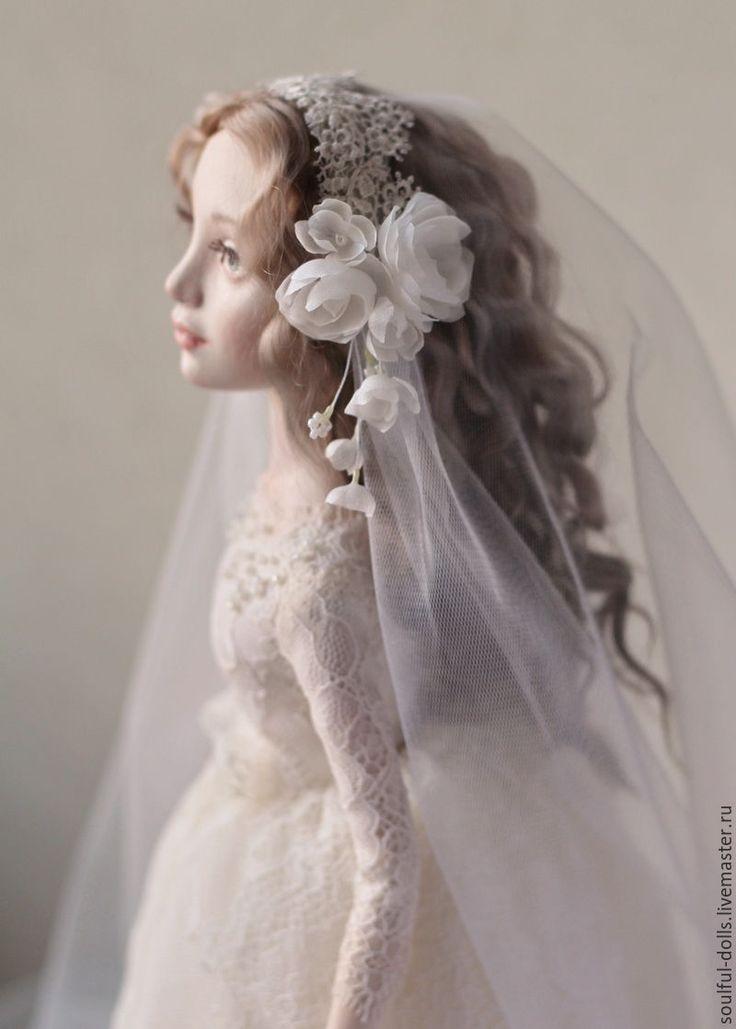 Купить Невеста - белый, невеста, кукла, кукла интерьерная, коллекционная кукла, кукла невеста, фата