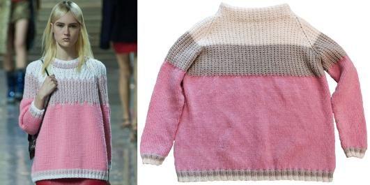 ORIGINALEN OG KOPIEN: Miu Miu sin vakre strikkegenser kan du lett strikke selv!