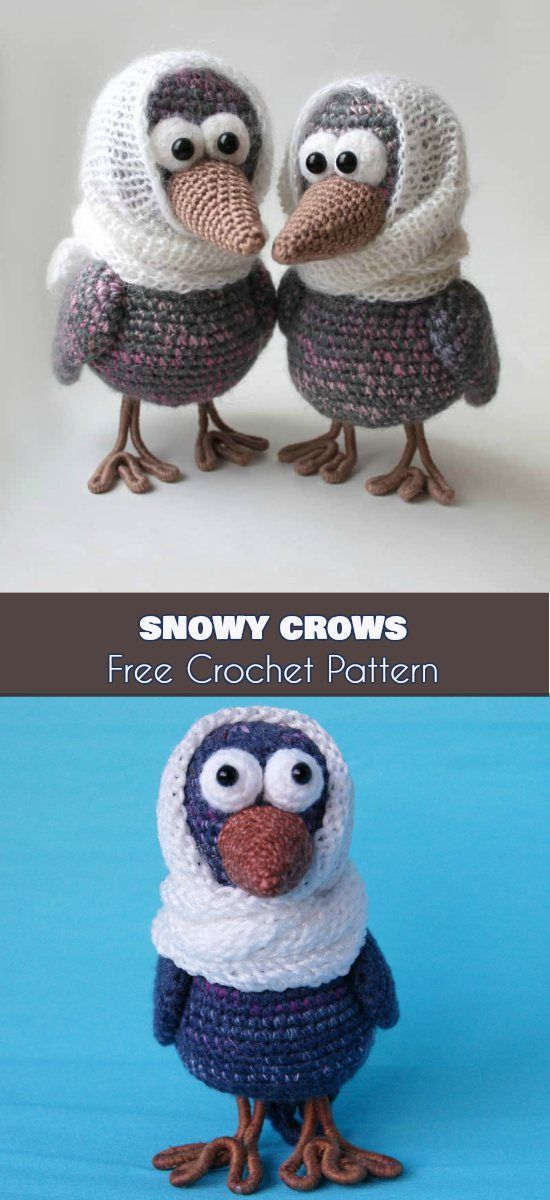 Snowy Crows Amigurumi [Free Crochet Pattern] Curious Crows, Crochet Bird