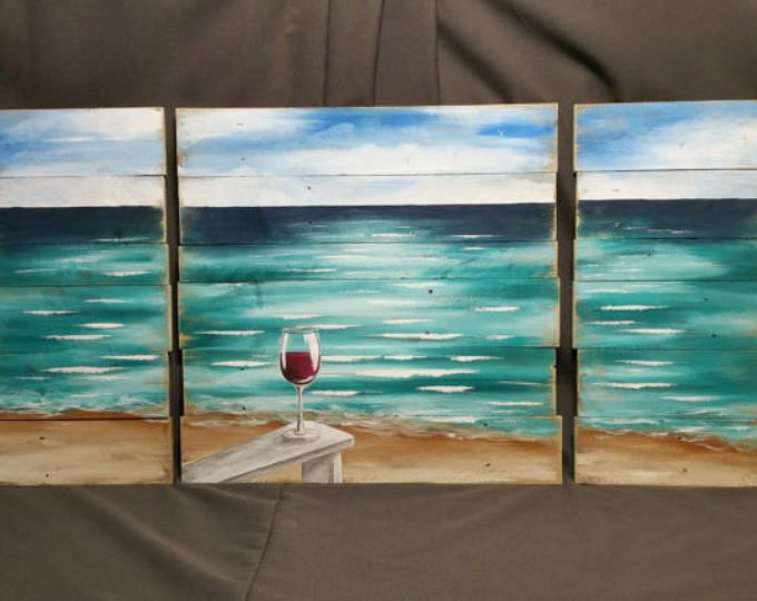 Pallet Wood Beach Red Wine Painting Painting On Pallet Wood