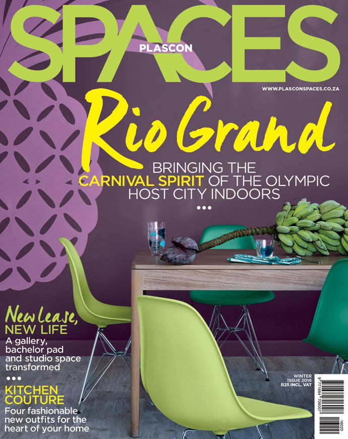 """Cover of  Issue 20 of the Plascon Spaces, titled Rio Grand in focus of the """"Bringing the Carnival Spirit of the 2016 Olympics Host City"""""""