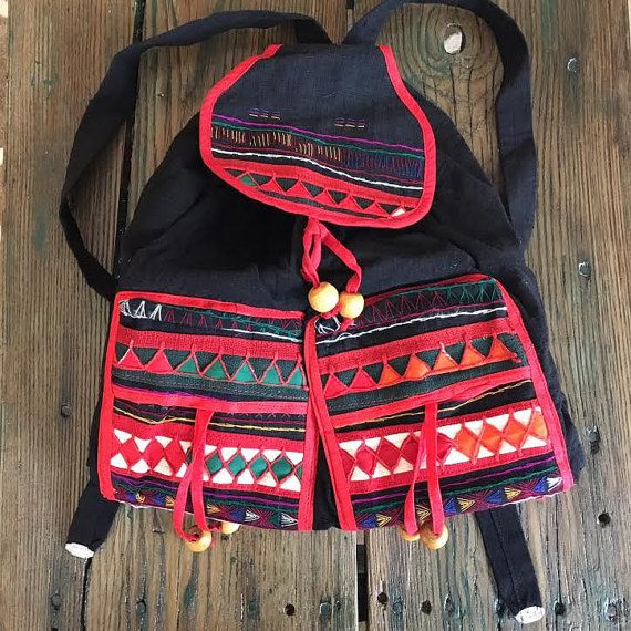 Vintage 90s Tribal Boho Hippie Backpack ~ Colorful Black Wooden beaded Linen Ethnic Bag
