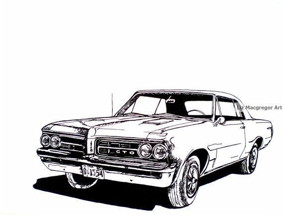 classic car print    1964 pontiac gto    for him    gift idea