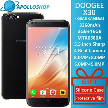 DOOGEE X30 Quad Camera 2x8.0MP+2x5.0MP Android 7.0 Mobile phone  3360mAh 5.5'' HD MTK6580A Quad Core 2GB RAM 16GB ROM Smartphone  Price: 77.70 USD