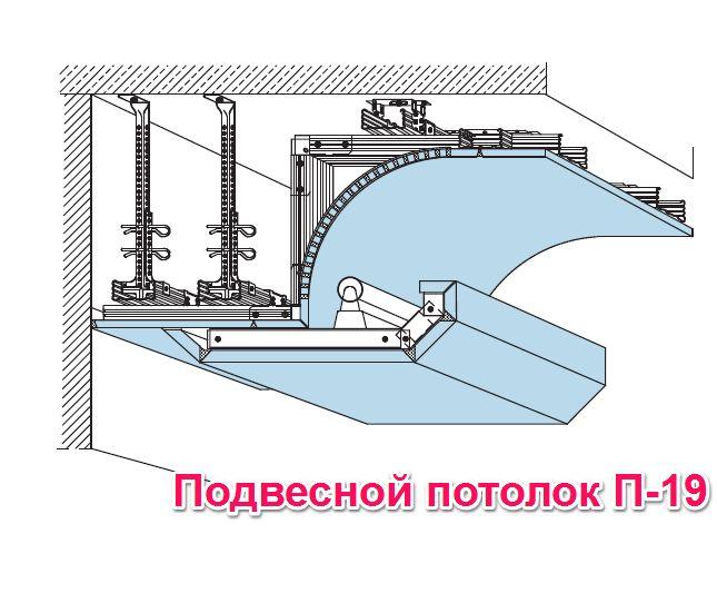 Схема подвесного потолка П19
