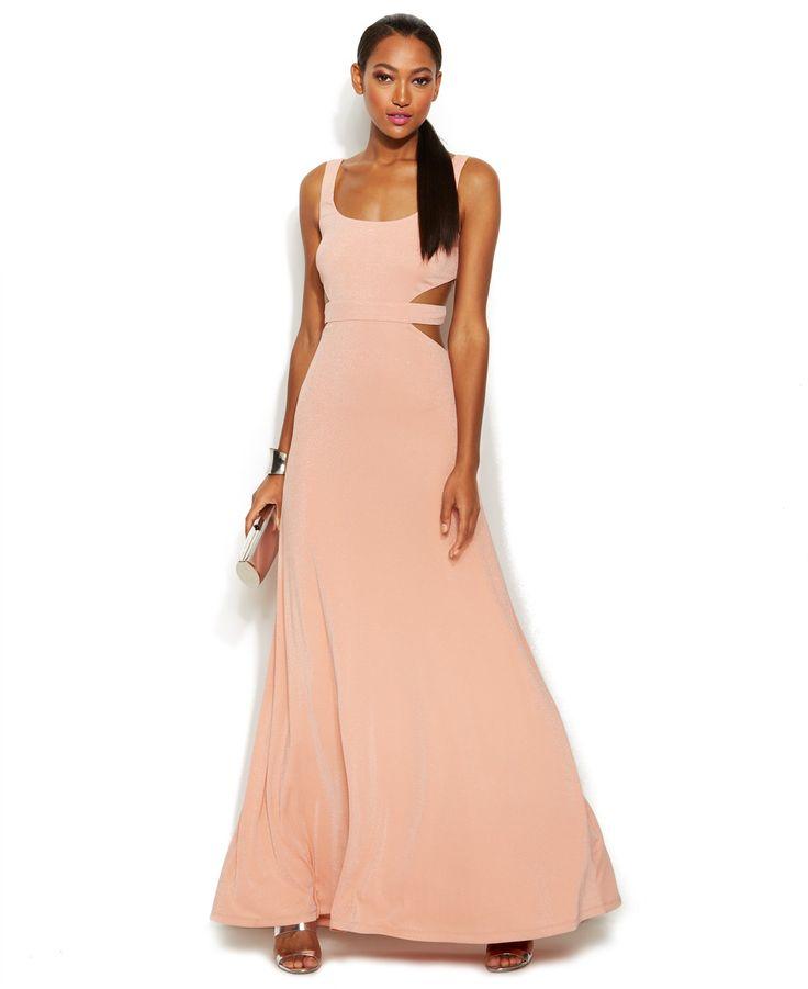 Calvin Klein Sleeveless Sparkle Cutout Gown