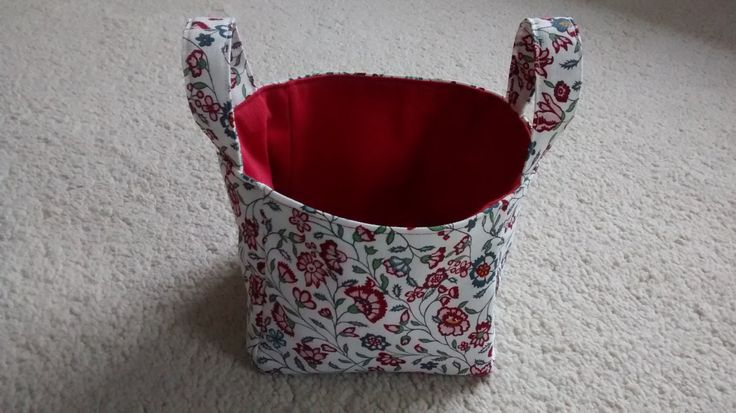Small Fabric Storage Cube with Handles, Storage Cube, Fabric Storage Basket by BitsBobsBunting on Etsy
