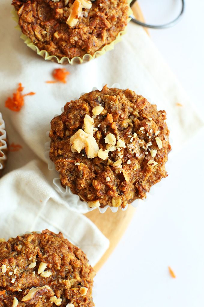 Easy, wholesome Carrot Walnut Muffins! Just ONE bowl required, #vegan #glutenfree