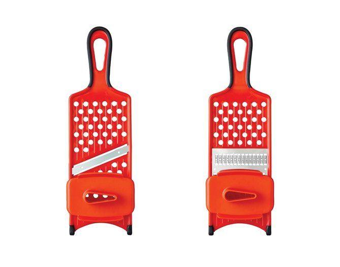 Hand-Held Straight-Blade and Julienne-Blade Fruit Vegetable Mandoline/Slicer/Shredder/Grater with Safety Hand Guard