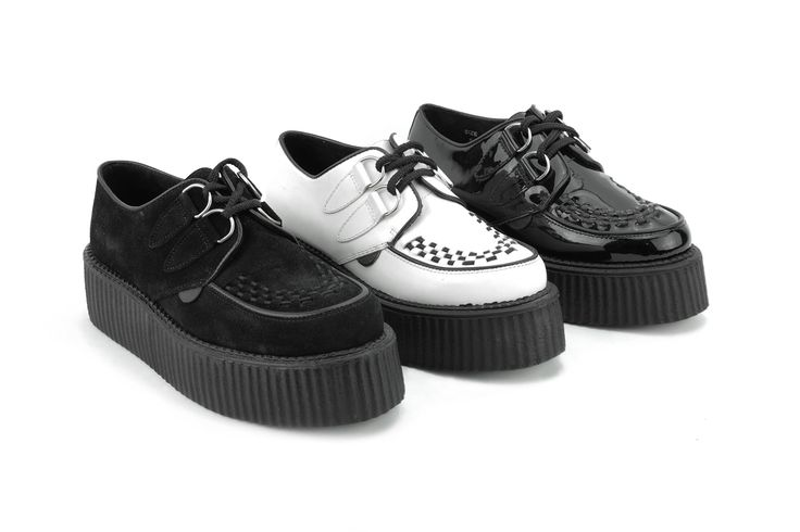 UNDERGROUND SHOES. The Original Wulfrun Creeper. Black Suede, White Leather, BLack Leather Creeper Shoes.