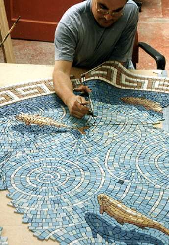 Gary Drostle working on his Fish Pond    One of my favorite mosaics :)