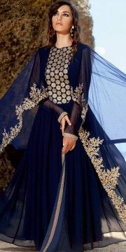 Tranquil Net Navy Blue Anarkali Suit With Dupatta.