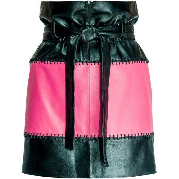 Leka - Black & Pink Leather Skirt ($455) ❤ liked on Polyvore featuring skirts, mini skirts, leather belt, short mini skirts, real leather mini skirt, short pink skirt and short leather skirt