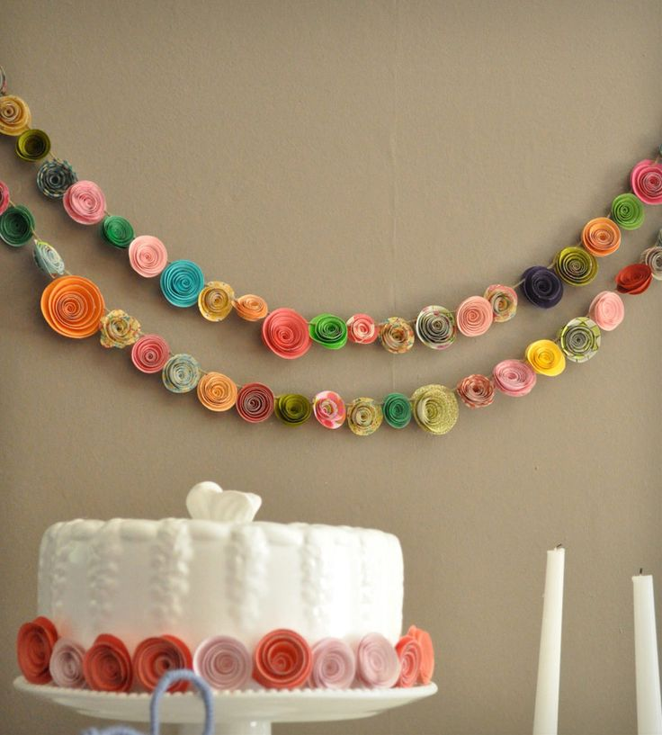 Colorful Paper Flower Garland/ Would be perfect for a bridal shower or engagement party