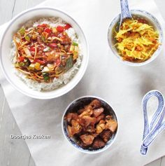 Een lekker recept voor zoetzure saus samen met wokgroentes, kip en rijst. Prima te combineren met atjar tjampoer, kijk gauw op doortjeskeuken.nl