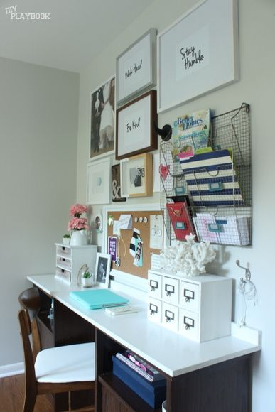 Add a gallery wall of frames and storage above your desk for instantly create inspiration in your home office.
