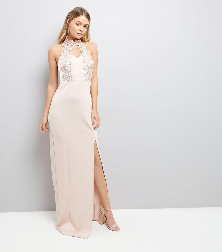 AX Paris Robe longue rose à détail en crochet New Look