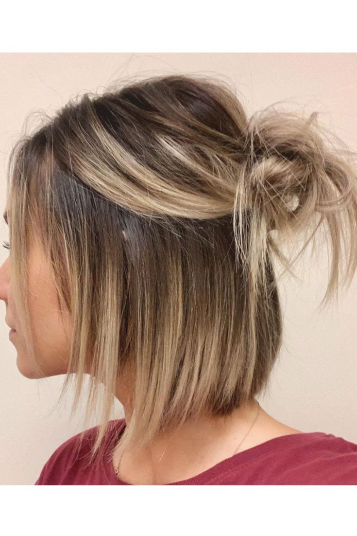 The half up bun on a bob. #bob #halfbun #hun #blonde #shorthair