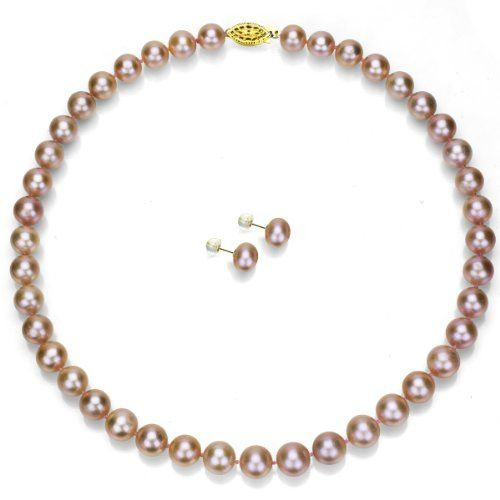 """14k Yellow Gold 10-10.5mm Pink Freshwater Cultured Pearl Necklace 18"""" and Stud Earrings Set"""