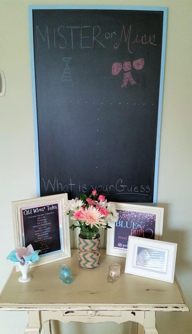 Gender Reveal...mister or miss...chalkboard...guess the gender