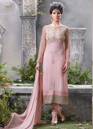 Splendid Pink Georgette Embroidery Work Designer Salwar Suit