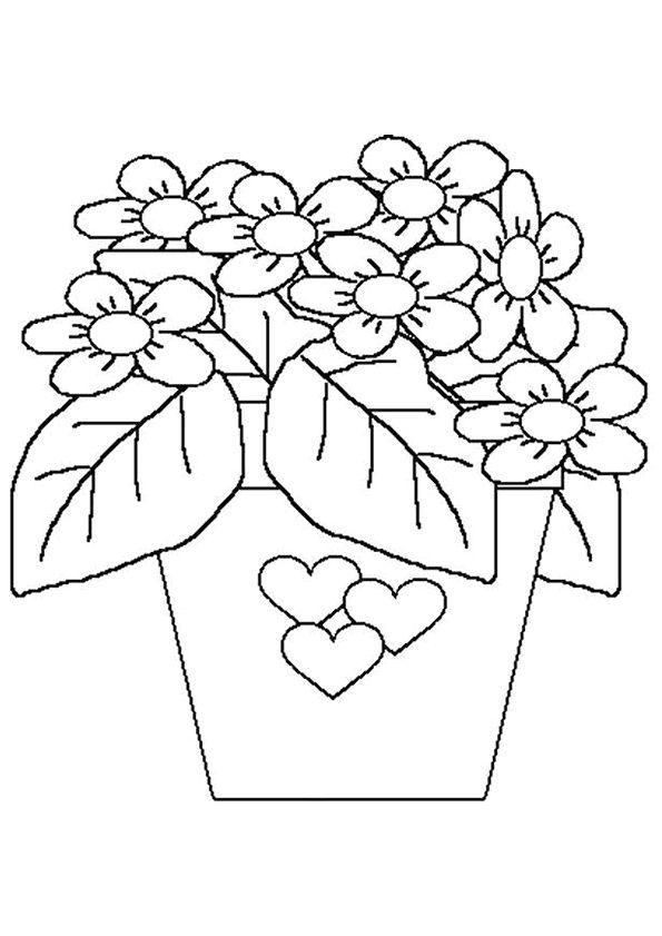 Dessin colorier d un pot de fleurs d cor avec des coeurs coloriages f te - Coeur avec des fleurs ...