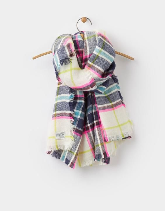 Berkley Antique Cream Check Scarf , Size One Size | Joules UK