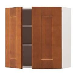 AKURUM top cabinet to fridge/freezer, Ädel medium brown. I like this darker brown color for kitchen cabinets