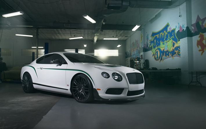 Download wallpapers Bentley Continental GT3-R, 2017, white sports coupe, tuning, black wheels, Bentley