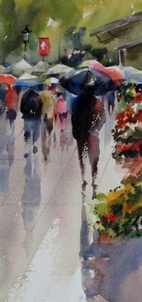 Barcelona in the Rain by Roger Whitlock Watercolor