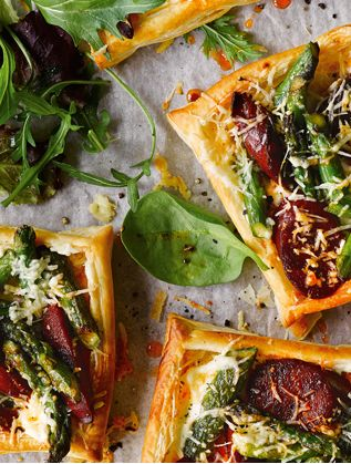 These savoury tarts are so simple and packed full of spring flavour. Guests will love the combination of golden pastry, smoky chorizo, nutty asparagus and creamy Manchego.