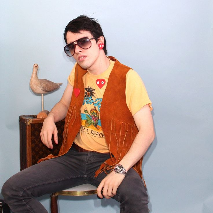 Vintage 80s 70s Authentic Raw Light Brown Leather Stitched Southwestern Hippie Cowboy Fridge Vest