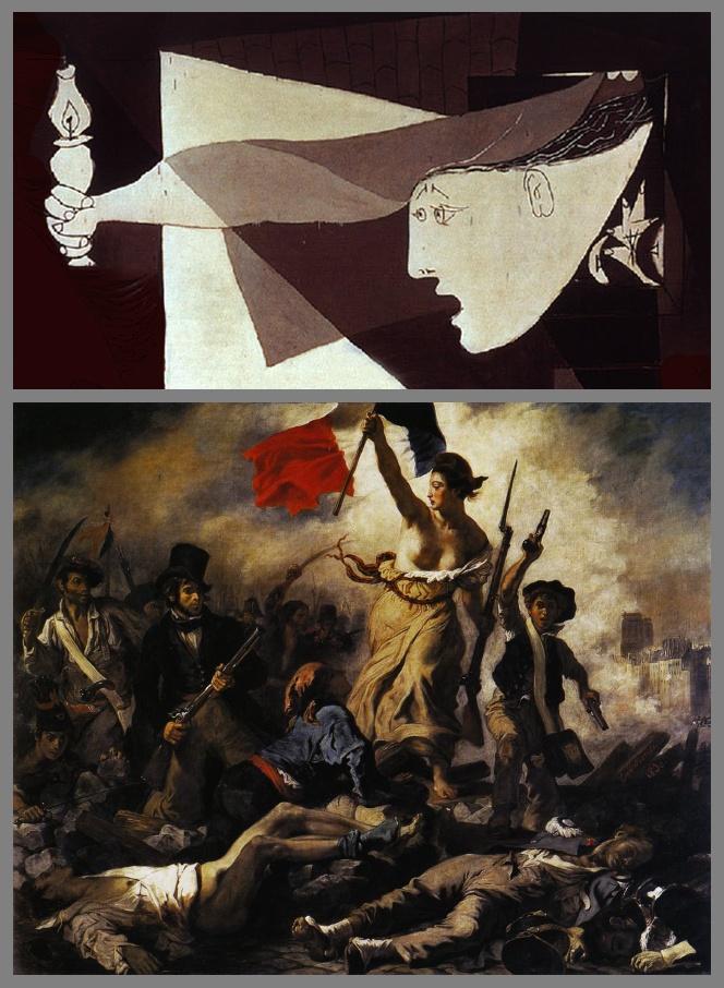 """SYMBOLES ET RÉFÉRENCES DANS GUERNICA. Cette femme volontairement très allongée sort d'une maison en flammes. Élément dynamique dans la composition, Elle tient une petite lampe, comme un flambeau qui se situe sur l'axe central, en haut de la pyramide. Il pourrait être un symbole d'espoir donnant à cette femme un statut allégorique comme dans le tableau d'Eugène Delacroix, """"La Liberté guidant le peuple"""" de 1830, exemple de renom de peinture romantique évoquant la Révolution française."""
