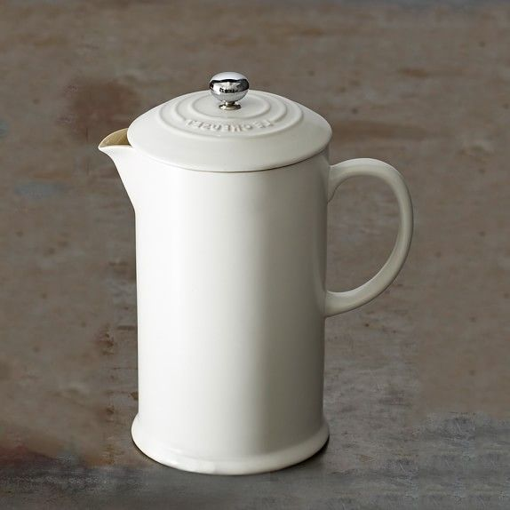 Le Creuset Café Stoneware French Press. Mmm I need one of these.