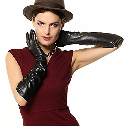 Interestingly, the freshest looks this Fall speak to the nostalgia of prim mid-century style. Approx. 19 inch super length from base of middle finger to hem. Size: Small; Medium; Large; XLarge. Color:Black. Measurement: Size S= 6.5″- 7″ ( 16.5-17.8 cm). Size M= 7″- 7.5″ ( 17.8-19.0 cm). Size L= 7.5″-8″ ( 19-20.3 cm). Size XL= 8″ ( 20.3 – 22 cm) Lady's Soft genuine nappa lambskin leather gloves Fashion forward and Everlasting classic design Reasonable price and fast shipping High quali