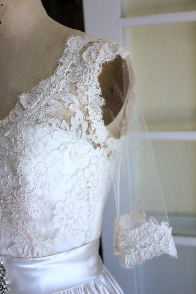 Adding a lace overlay to a wedding gown