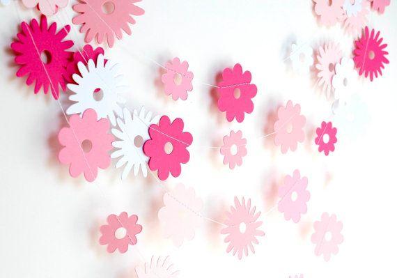 Pink ombre paper garland, paper flower garland, nursery decor, bridal shower, pink baby shower party decor