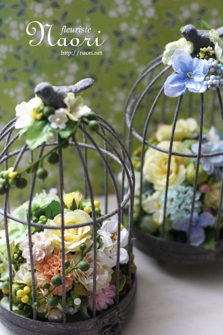鳥かごのアレンジ   Bird Cage flower  Birthday , Wedding,